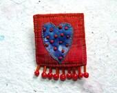Dotty Heart Purple and Orange Brooch