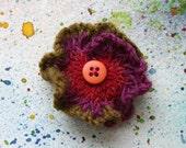 Heather Knitted Flower Brooch