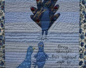 Quilted Blue Wallhanging, Fun Peacock OOAK