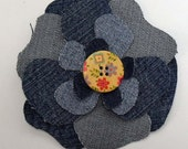 Denim Corsage with Cream Button- Recycled Shabby Brooch