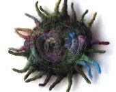 Forest Green Sunburst Neddle-felted Brooch