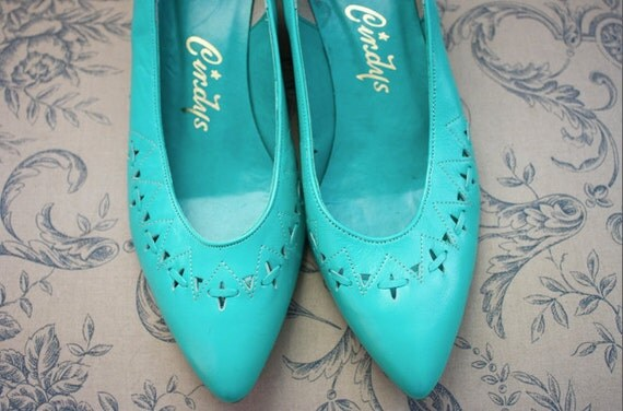 Vintage Seafoam Woven Heels - 7