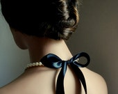 Bridesmaids Gifts Pearl Necklaces With White Swarovski Crystal Pearls And Black Satin Ribbon Six (6) Necklaces
