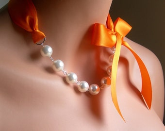 Pearl Necklace With White Swarovsi Crystal Pearls And Tangerine Satin Ribbon