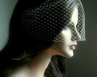 Birdcage Veil Bandeau Style in Beige Color 9 Inches