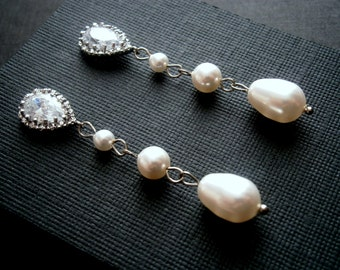 Bridal Pearl Earrings With Cubic Zirconia And White Pearls