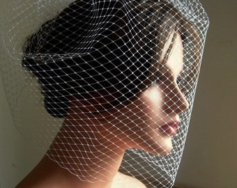 Wedding Veil Full Birdcage Veil in White Color 18 Inches