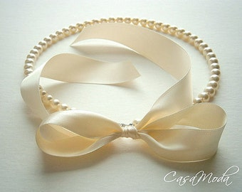 Pearl Necklace With Cream Swarovski Crystal Pearls And Cream Satin Ribbon