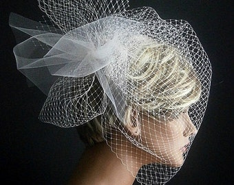 White Wedding Viel Full Birdcage Veil With Poof In White Color 18 Inches
