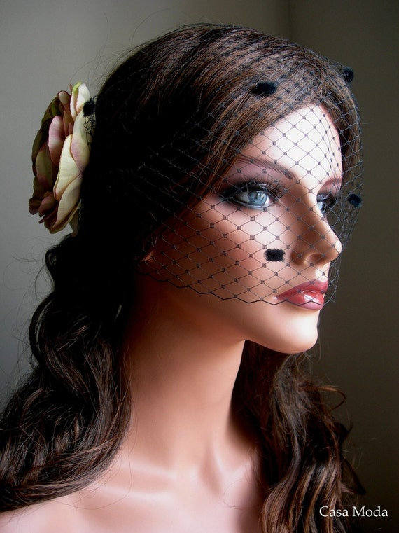 Birdcage Veil Bandeau Style in Black Color With Chenille Dots 9 Inches
