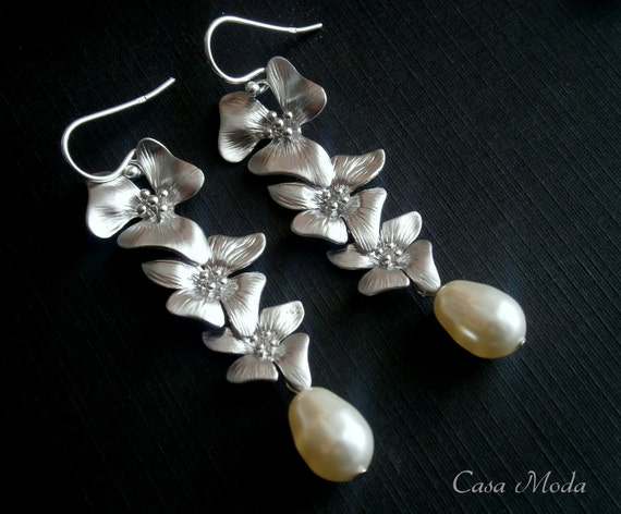 Bridal Earrings Silver Statement Earrings With Cascading Three Flowers And Cream Teardrop Pearls ON VACATION Oct 28 till Nov 5