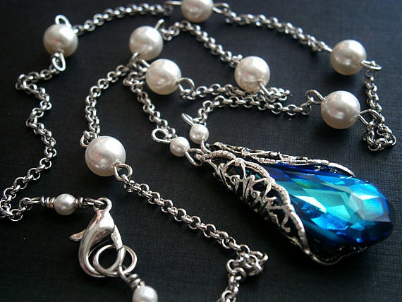 Vintage Necklace Something Blue Swarovski Crystal Bermuda Blue Teardrops With Silver Filigree Cone Wrap And White Pearl Necklace