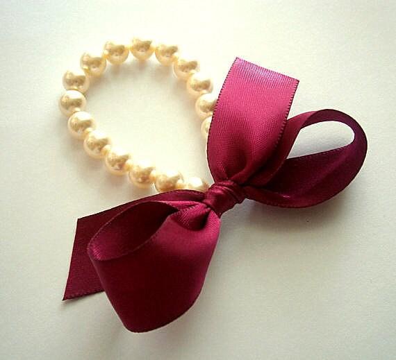 Pearl Bracelet Fuchsia Weddings Flower Girl Pearl Bracelet Cream Pearls With Fuchsia Dark Pink Satin Ribbon