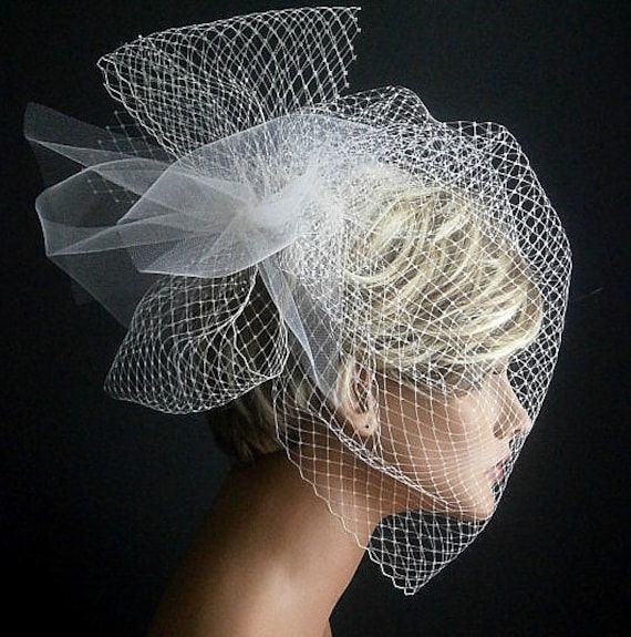 Wedding Viel Full Birdcage Veil With Poof in Ivory Color 18 Inches