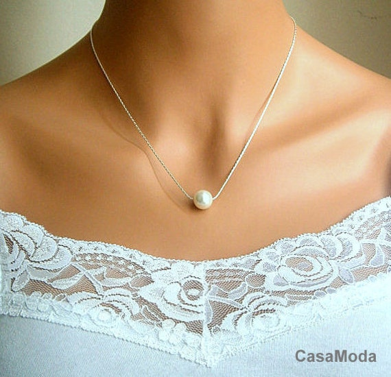 Floating Pearl Necklace In Silver Chain With 10mm White Swarovski Crystal Pearl 17 Inches
