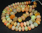 "14"" - 5.5-9mm - 81.5 cts Best Natural Blue Green Red Fire Welo Ethiopian Opal Smooth Roundel Beads Strand - JE1001"