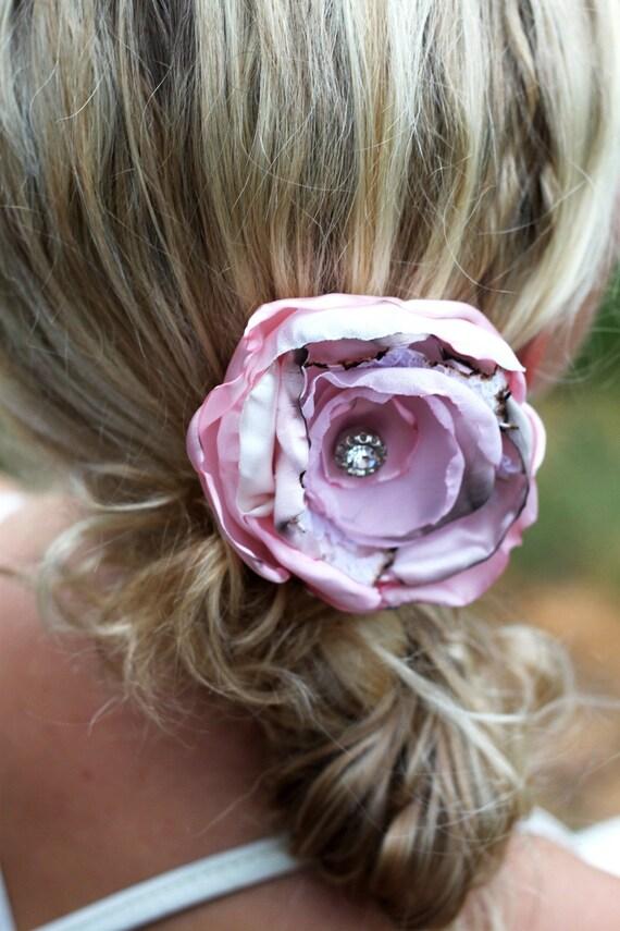 Pink Vintage Hair Flower