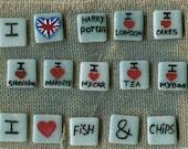 Hand Painted Ceramic British Mini Magnet Tiles for your fridge
