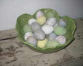 Easter Eggs Paper Mache Painted Distressed Finish Pastels or White Set of 12