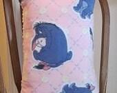 Eeyore Fleece Pillow w Pink & White Minky Dot w Pink Loop Fringe