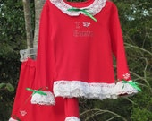 Red Cotton Knit Top n Skirt w Lots of Lace