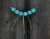 Starburst -  Turquoise Howlite Vintage Hammered Brass Rod Chain Necklace