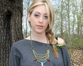 White Fang - Moonstone Carnelian Turquoise Tribal Necklace