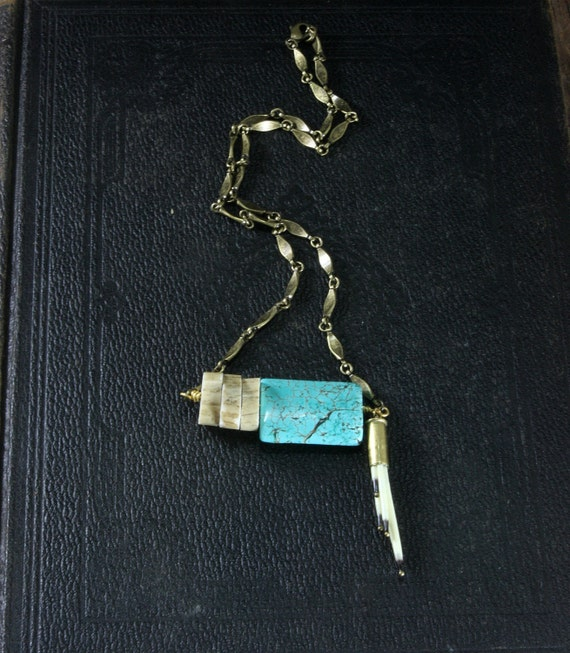 The Western Woods - Porcupine Quill  Deer Antler Slice Turquoise Necklace