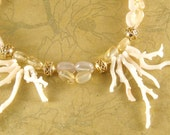 Spring Mermaid - coral, citrine, rose quartz, 14k gold necklace