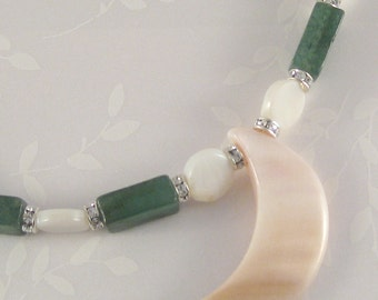 Moon Sea - mother of pearl, green aventurine, Swarovski crystal, sterling silver necklace