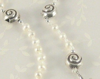 Sea Foam - white freshwater pearl and silver Catholic rosary