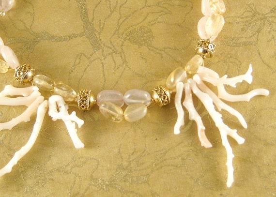Spring Mermaid - coral, citrine, rose quartz, 14k gold necklace