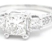 Princess and round cut diamond engagement ring 1.75ctw