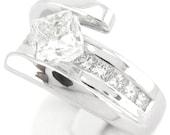 Princess cut tension set diamond engagement ring 1.47ctw 14k