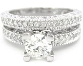 Diamond engagement ring and band art deco antique  2.15ctw