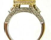 Princess and round diamond engagement ring art deco 1.86ctw 18k
