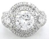 Round cut diamond engagement ring art deco 2.50ctw