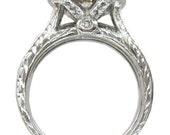 14k white gold round cut diamond engagement ring and band bezel set 1.70ctw
