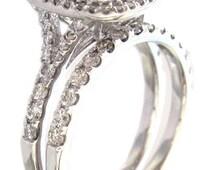 14k white gold cushion cut diamond egagement ring and band prong set 1.65ctw