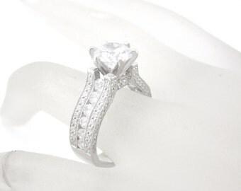 14k white gold round cut moissanite and diamond engagement ring 2.70ct art deco