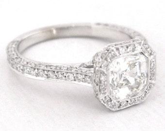 Asscher cut diamond bezel engagement ring 1.75ctw