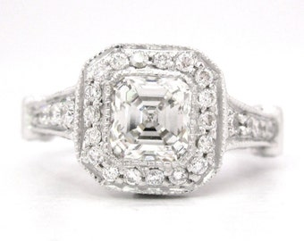 Asscher cut diamond bezel set engagement ring 2.10ctw