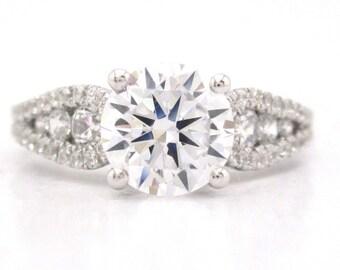 Round cut diamond engagement ring art deco 1.53ctw
