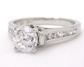 Round cut art deco diamond engagement ring 1.00ctw