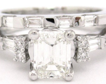 Emerald cut diamond engagement ring and band 1.75ctw