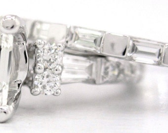 Emerald cut diamond engagement ring and band 1.75ctw 18k