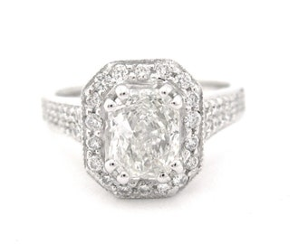 Radiant cut diamond engagement ring 1.50ctw
