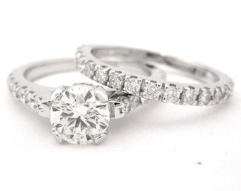 Round cut diamond engagement ring and band art deco 1.70ctw