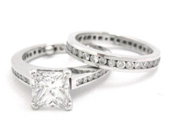 Princess cut diamond engagement ring and band set 2.90ctw