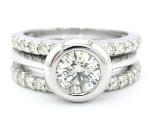 Round diamond bezel set engagement ring and bands 1.95ctw